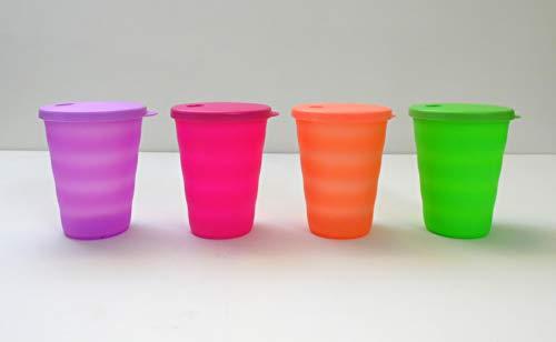Tupperware Trinkhalmbecher Trinkhalm Becher (4) Lila Pink lorange grün