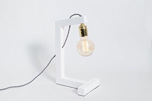 Holzleuchte, edison Lampe, Tischlampe, Designleuchte, Schreibtischlampe. Lampe Pisa Weiße Globo.
