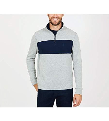 Nautica Herren Long Sleeve Half Zip Mock Neck Sweatshirt, Grey Heather, Groß Mock Jumper
