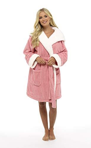 CityComfort® Luxury Dressing Ladies Ladies Bata súper Suave con Forro de Felpa con Albornoz de Felpa para Mujer (M, Pink Sugar Waffle Pattern) Talla EU 40 - 42 UK 12-14