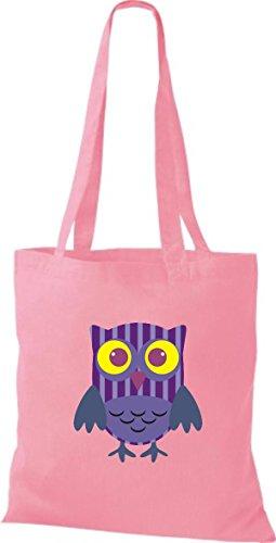 ShirtInStyle Jute Stoffbeutel Bunte Eule niedliche Tragetasche mit Punkte Karos streifen Owl Retro diverse Farbe, weiss rosa