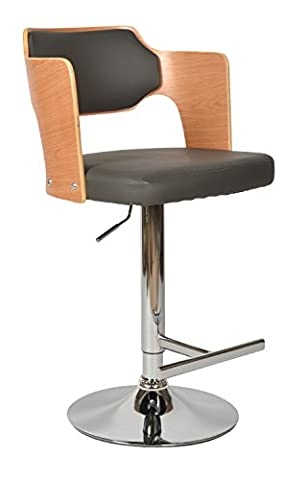 ts-ideen - Dining chair bar seat stool lounge retro style, grey leatherette and oak wood