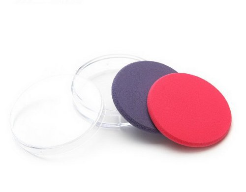 Ensemble de 4 rond éponge de maquillage / doux puff éponge, bleu et rouge
