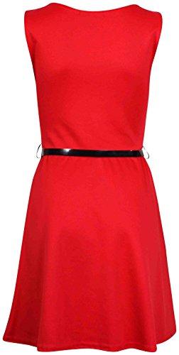 Femmes Sans Manches Femme Extensible Col Rond Jupe Évasée Ceinture Style Franki Patineuse Mini Robe Débardeur Rouge