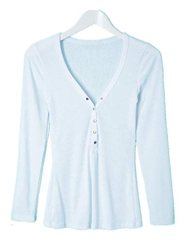 KCatsy Womens Stylish V-Neck Long Sleeve Button Design Solid Color Women s  Blouse 9b6a26bc01