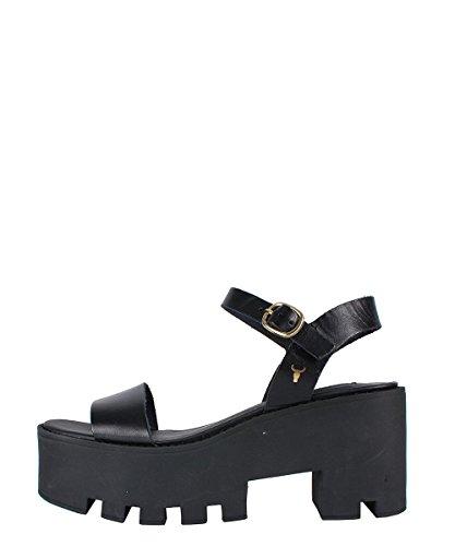 Windsor Smith Duffy Black Sandal - Sandali Neri Con Suola Carro Armato