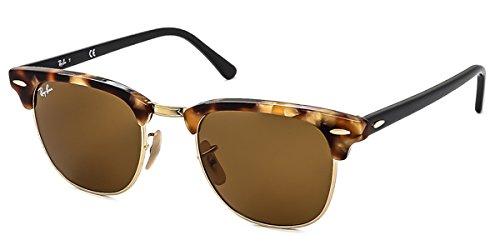 Ray-ban tortoise/nero marrone b-15 49mm clubmaster occhiali da sole rotondi classici