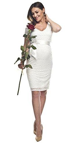 Elegantes und bequemes Umstandskleid, Brautkleid, Hochzeitskleid für Schwangere Modell: Lace, weiss/creme - 4