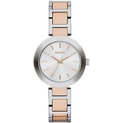 DKNY NY2402 - Reloj de cuarzo con correa de acero inoxidable para mujer, color plateado
