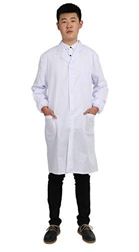 WTUS Herren Kittel Medizin Arztkittel weiß mit Knöpfe Labormantel Männer Berufsbekleidung - Kittel Mann