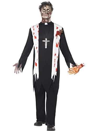 Halloweenia - Herren Männer Kostüm blutiger Horror Priester Pfarrer Pastor Mönch, Zombie Priest Preacher, perfekt für Halloween Karneval und Fasching, M, Schwarz