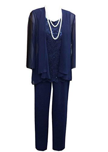 Pretygirl Damen 3 Stück Spitze Chiffon Mutter der Braut Kleid Hose Anzüge mit Jacke Outfit für Hochzeit Bräutigam(US 16 Plus, Königsblau) -