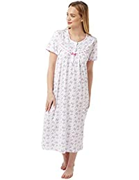 2925f95c86 Ladies Short Sleeved 100% Cotton Jersey Butterfly Print Nightdress. Pink