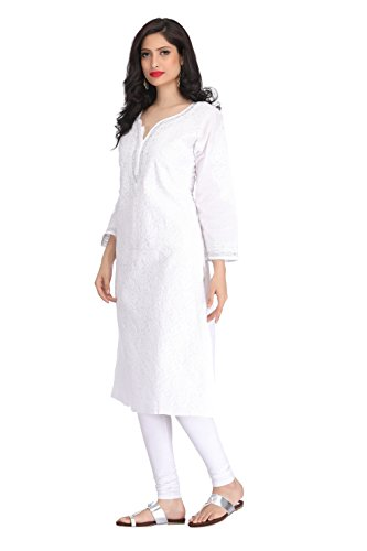 ADA-Hand-Embroidery-Casual-Wear-White-Kurti-in-Cotton-with-Latest-Chikan-Stitches-A140924