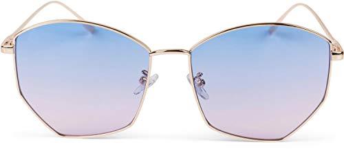 styleBREAKER Damen Piloten Sonnenbrille mit fünfeckigen Gläsern, getönten Polycarbonat Gläsern und Metall Gestell, Retro Brille 09020103, Farbe:Gestell Gold/Glas Blau-Rosa Verlauf
