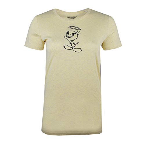 Looney Tunes Tweety Emb Camiseta Amarillo Light Heather Yellow Lhy 40 Talla Del Fabricante Medium Para Mujer