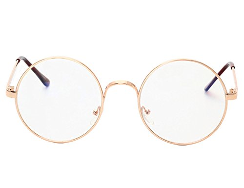 Bmeigo Retro-Runde Metallrahmen Brille Saubere Linse Classic Mode Unisex Nerdbrille