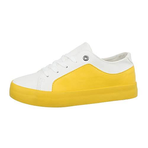 Ital-Design Damenschuhe Freizeitschuhe Sneakers Low Synthetik Weiß Gelb Gr. 38