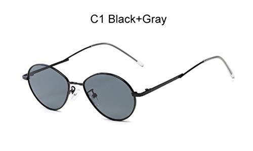 Cranky Orange 2019 Trending Damen Kleine Ovale Sonnenbrille Retro runder Metallrahmen Bonbonfarben Mode Herren Durchsichtig Rot Lens Shades Spiegel, C1 SchwarzGrau