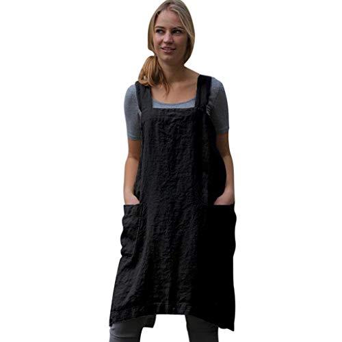 IZHH Damen Frauen Kleider Baumwolle Leinen Pinafore Square Cross Schürze Gartentasche Arbeit Pinafore Kleid Einfarbig Arbeitskleidung Kleid(Schwarz,X-Large)