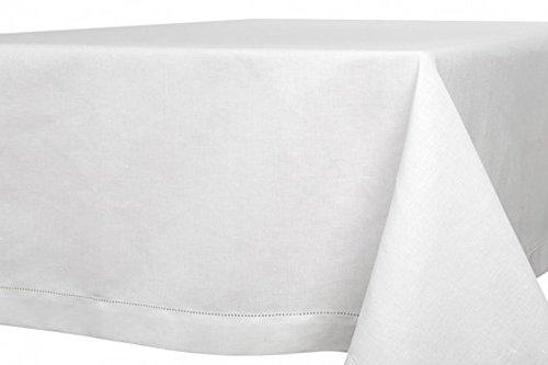 Nappe blanche de lin-coton un design ajouré, 170cm x 400cm