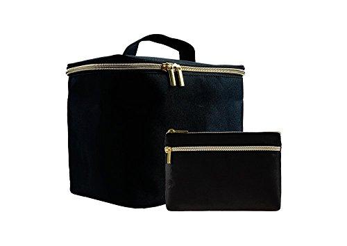 Un ensemble de deux sacs en polyester noirs pour cosmétiques dac de maquillage trousse de toilette
