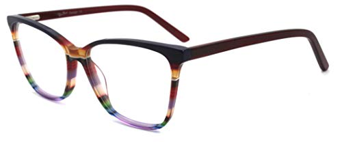 RICH MODE Oversize Multicolor Eyeglasses Non-prescription Optical Frame for Women & Girls (Rot)