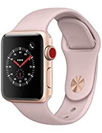 Apple Watch Series 3, 38 mm, GPS + Cellular, Aluminium Gehäuse, Gold mit Sport-Armband, Sandrosa, 2017