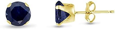 Ronda Kezef 7 mm Genuine zafiro azul oro amarillo plateado plata pendientes del perno prisionero