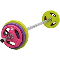 FunctionalFitness Studio Body Pump Set - Chrome Bar/Coloured Rubber Discs (2 x 1.25kg, 2 x 2.5kg, 2 x 5kg) and a Pair of 30mm Quick Release Spring Collars