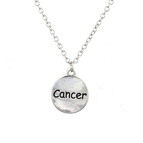 LUX Zubehör Silber Ton Krebs Astrologische Zeichen Gravur Charm Halskette (Krebs Zeichen Schmuck)