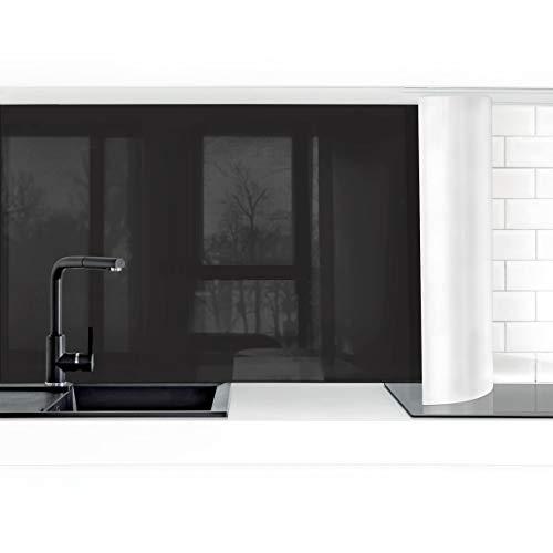 Bilderwelten Küchenrückwand Folie selbstklebend wasserfest Tiefschwarz 60 x 150 cm Premium - Hochglanz Schwarz Glas