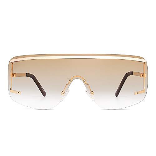 Oversized Schild Sonnenbrille Flach Top Gradient Linse Randlos Brille Damen Herren(Licht Gold/Farbverlauf Braun)