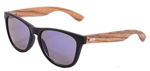 SHINU Wooden Sonnenbrille UV400 Verspiegelten Bunten Flash-Spiegel-Objektiv-Holz Brillen-Z6100(matte black-zebra wood, sky blue)