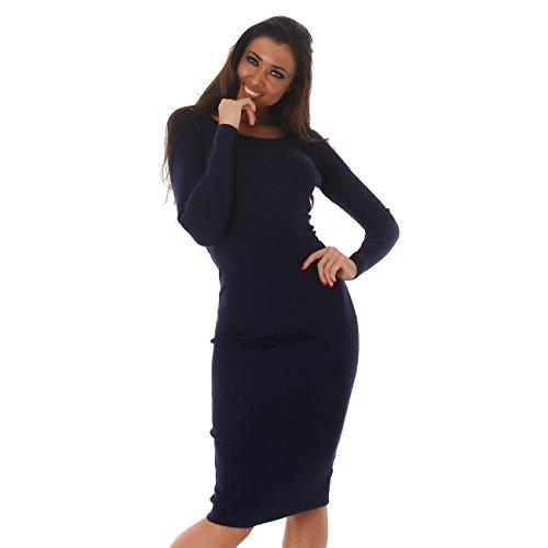 Damen Basic Langarm-Kleid mit Rundhalsausschnitt I Longsleeve I Strick-Kleid für den Übergang I verschiedene Farben I Einheitsgröße (32-38)...