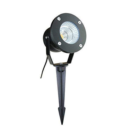 VBLED 10W Garten-Strahler/Außenleuchte - IP65 Wasserdicht, Extra helle 600 Lumen, Warmweiß 3000K, mit Erdspieß - Aluminium schwarz eloxiert - Gartenbeleuchtung (Warmweiß - 230V) ...