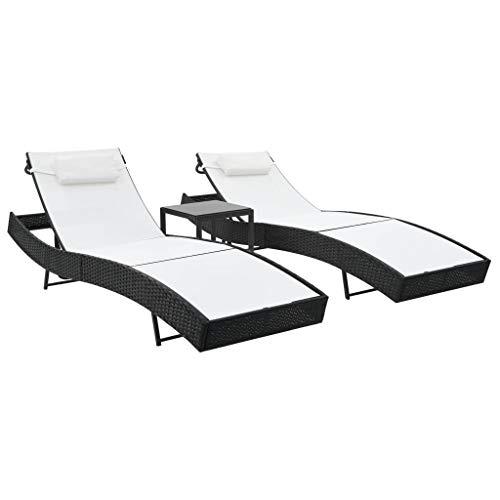 Festnight Chaise Longue de Jardin Réglable Bain de Soleil pour Patio ou Balcon en résine tressée Noir et Blanc 2 chaises Longues + 1 Table d'appoint
