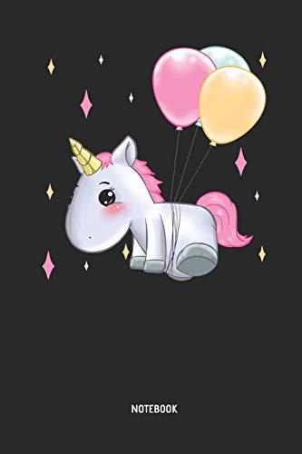 Einhorn fliegt mit Luft Ballons - Liniertes Notizbuch & Schreibheft für Frauen, Mädchen und alle die Einhörner lieben. Tolle Geschenk Idee für alle Einhorn Freunde. ()