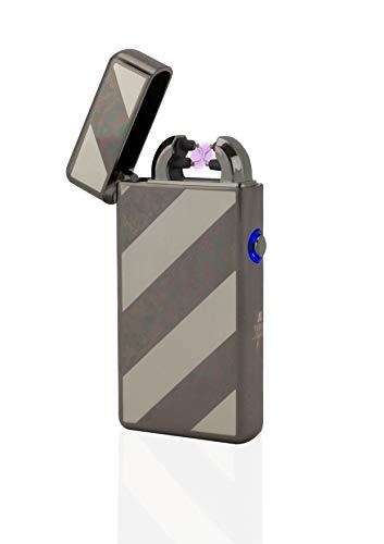 TESLA Lighter T08 Lichtbogen Feuerzeug USB Feuerzeug Elektro Feuerzeug Double Arc wiederaufladbar Schwarz gestreift ...