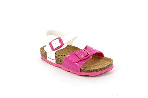 Grunland Luce filles, cuir lisse, sandales BIANCO-FUXIA