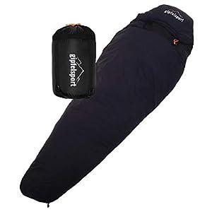 gipfelsport Mumienschlafsack – Outdoor Schlafsack für Erwachsene und Kinder   Mini Sleeping Bag für Winter, Herbst und Frühling   kleines Packmaß, klein, warm