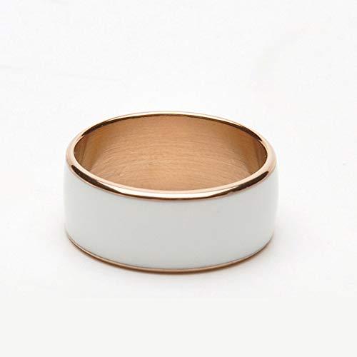 SDTEMY Kreative Smart Ring NFC Ring Android Phone Armband Schmuck, Amorphe Titanlegierung Smart Ring, Wasserdicht Und Staubdicht, Health Tracker, Wireless Sharing, Push-Nachricht 63mm,White