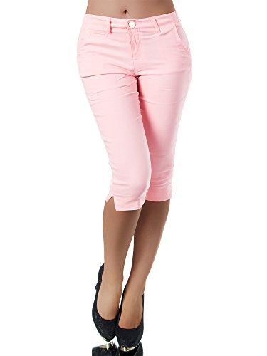 Diva-Jeans N956 Damen Caprihose Treggings Leggings Stoffhose Sommerhose Knielang 3/4 Capri, Größen:M, Farben:Rosa