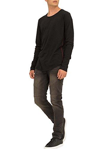 trueprodigy Casual Herren Marken Long Sleeve einfarbig Basic, Oberteil cool und stylisch mit Rundhals (Langarm & Slim Fit), Langarmshirt für Männer in Farbe: Schwarz 1053144-2999 Black
