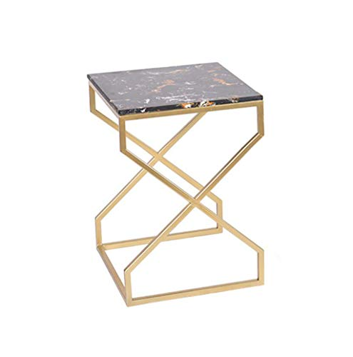 FENGFAN Table en métal, Table carrée, Table Basse Fer Art marbre Salon Chambre canapé Table d'appoint Chevet créatif Table de thé d'or FF (Taille : 40x40x55CM)