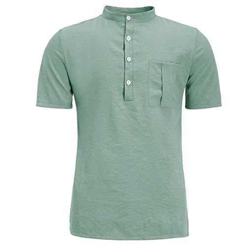 r Neue Reine Baumwolle Hanfhemd Knopf kurzen Ärmeln Mode große Bluse Top(XX-Large,Grün) ()