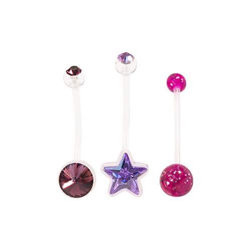 Set von 3Blau Pink Unisex Lila Mädchen-Jungen Sets Schwangerschafts Bauchnabelpiercing Bar Bauch Button Ring Flexible Juwel, Glitter, Stern oder mehr wählen - Set/Violett (Ringe Button Belly Violett)