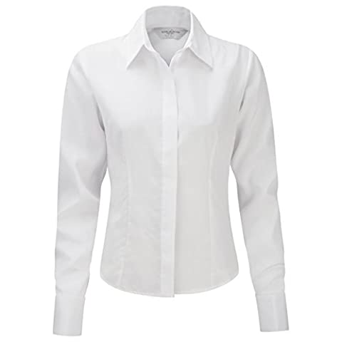 RUSSELL Women's Long Sleeve Work Shirt (Sizes 8-22) Eco Friendly Anti-Bacterial Formal Corporate Blouse Ideal For Office