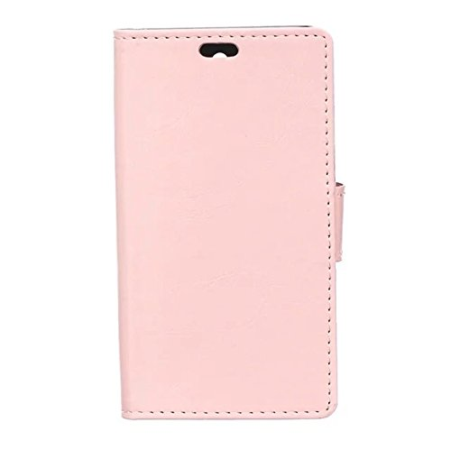 Verrückte Pferd Texture Pattern synthetischen PU-ledernen Fall horizontalen Flip-Ständer Case Wallet Fall Deckung Solid Color Case für Huawei Honor 7I ( Color : Red , Size : Huawei Honor 7I ) Pink