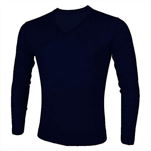 Océan de Nuages 100% Merinowolle Jersey Stitch V-Ausschnitt Weicher und Leichter Basic Pullover Jumper Sweater -